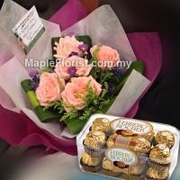 5 roses bouquet + chocolate (Johor Bahru only)