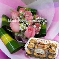 8 roses bouquet + ferrer rocher (Johor Bahru only)