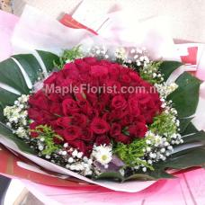 99 Valentine's roses bouquet