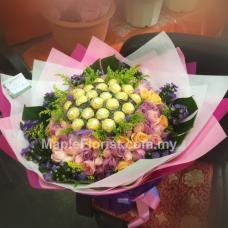 99 roses + 24 ferrero rocher bouquet