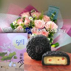Ginseng Mooncake with bouquet (花旗渗月饼)