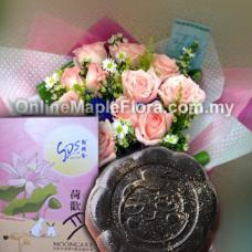 Durian Mooncake Gifts with bouquet