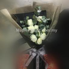 Eucalyptus leaves with roses bouquet