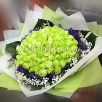 99 green roses bouquet