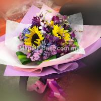 Pink static with Mix flowers Bouquet