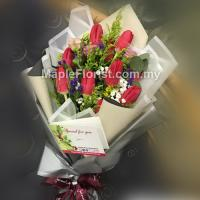 10 red tulips bouquet