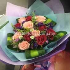 12 red + pink roses bouquet