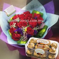 12 roses bouquet + Ferrero rocher (16pcs)