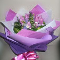 10 Valentines purple tulips
