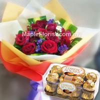 12 roses with ferrero rocher (16pcs)