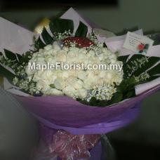 99 white roses bouquet