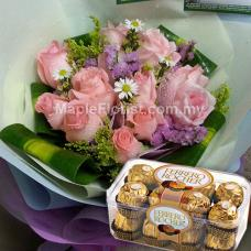 10 roses bouquet + 1 box ferrero rocher