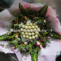 Ferrero rocher with roses bouquet