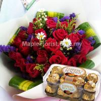 20 roses bouquet + 1 box ferrero rocher (16pcs)