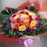 99 mixed roses bouquet