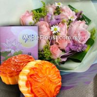 Mooncake Gifts with bouquet