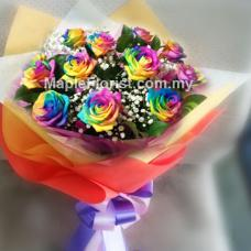 10 Rainbow Roses Bouquet