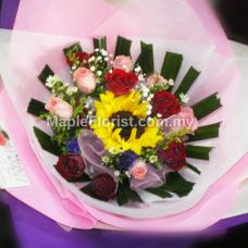 12 roses + sunflower bouquet