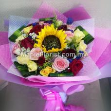 24 roses + sunflower bouquet