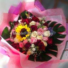 36 roses + sunflower bouquet