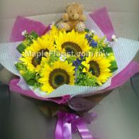 6 sun flowers + small bear bouquet