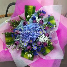 Hydrangea with 10 tulips bouquet