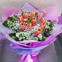 10 Valentines orange tulips