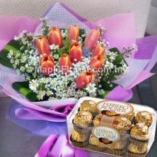 10 tulips bouquet + 1 box ferrero rocher (16pcs)