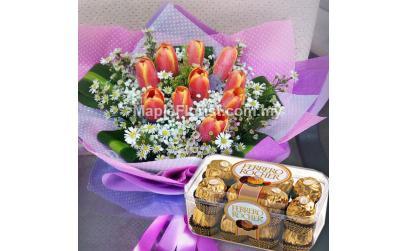 10 tulips bouquet with ferrero rocher (16pcs)